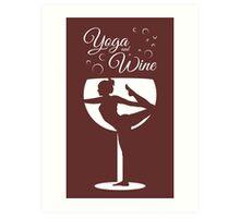 Yoga & Wine Art Print