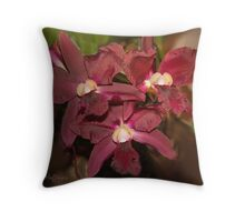 Deep Red Orchids Throw Pillow