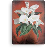 Calla Lilies On A Red Background Metal Print