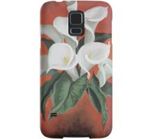 Calla Lilies On A Red Background Samsung Galaxy Case/Skin