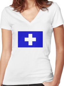 Flag of the Greek Island of Icaria Women's Fitted V-Neck T-Shirt