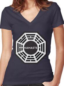 NAMASTE  - Dharma logo Women's Fitted V-Neck T-Shirt