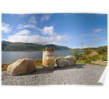 Flowerbed - barrel on the banks of the fjord Poster