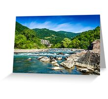 shore of a mountain river Greeting Card