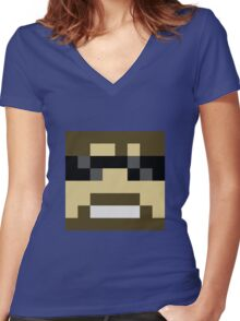 ssundee Minecraft skin Women's Fitted V-Neck T-Shirt