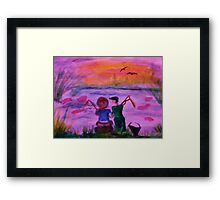 Fishing together, watercolor Framed Print