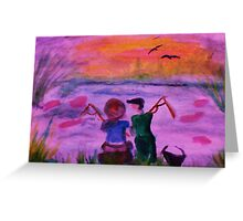 Fishing together, watercolor Greeting Card