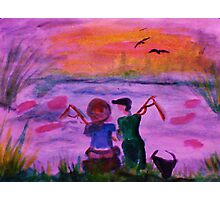 Fishing together, watercolor Photographic Print