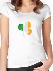 Vintage Irish Flag Clover St Patricks Day Women's Fitted Scoop T-Shirt