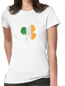 Vintage Irish Flag Clover St Patricks Day Womens Fitted T-Shirt