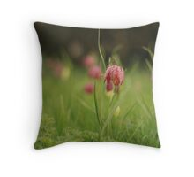 Waving Snake's head fritillaries at Downton Abbey Throw Pillow