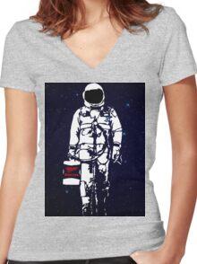Badass Astronaut - Black visor Women's Fitted V-Neck T-Shirt