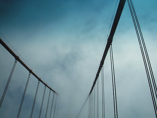 Golden Gate Bridge in Fog by Tama Blough