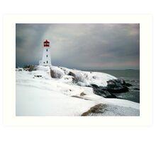 Peggys Cove Lighthouse in the Snow - Nova Scotia Canada Art Print