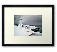 Peggys Cove Lighthouse in the Snow - Nova Scotia Canada Framed Print