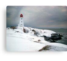 Peggys Cove Lighthouse in the Snow - Nova Scotia Canada Canvas Print