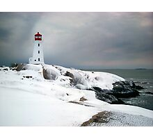Peggys Cove Lighthouse in the Snow - Nova Scotia Canada Photographic Print