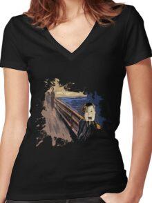 Scream Alone Women's Fitted V-Neck T-Shirt