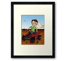 Outback boy on quad bike Framed Print