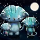 Lucky, Lola and Luna, Full Moon Cats by Karin  Taylor