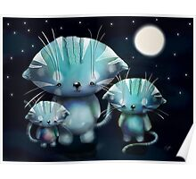 Lucky, Lola and Luna, Full Moon Cats Poster