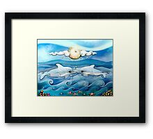 baby dolphins Framed Print
