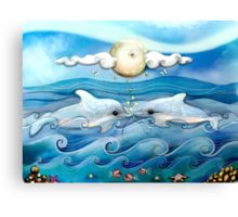 baby dolphins Canvas Print