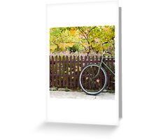 bicycle and fence, circle and square Greeting Card
