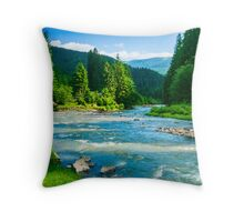mountains trees and a river Throw Pillow