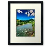wild mountain river on a clear summer day Framed Print