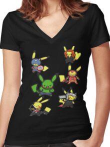 Pikachu Avengers Women's Fitted V-Neck T-Shirt