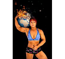 Female Atlas holds the world on her shoulder  Photographic Print