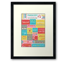 Phrases coined by Shakespeare Framed Print