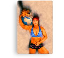 Female Atlas holds the burning earth on her shoulder  Canvas Print