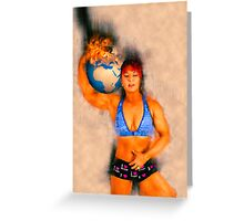 Female Atlas holds the burning earth on her shoulder  Greeting Card