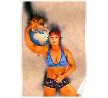 Female Atlas holds the burning earth on her shoulder  Poster
