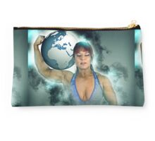 Female Atlas holds the world on her shoulder  Studio Pouch
