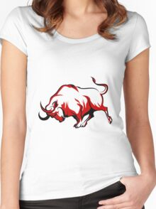 Fighting Bull Emblem  Women's Fitted Scoop T-Shirt
