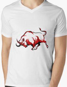 Fighting Bull Emblem  Mens V-Neck T-Shirt