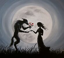 Wolf With The Red Roses by Aradia