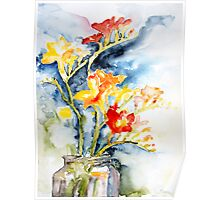 Freesia In A Pickle Jar Poster