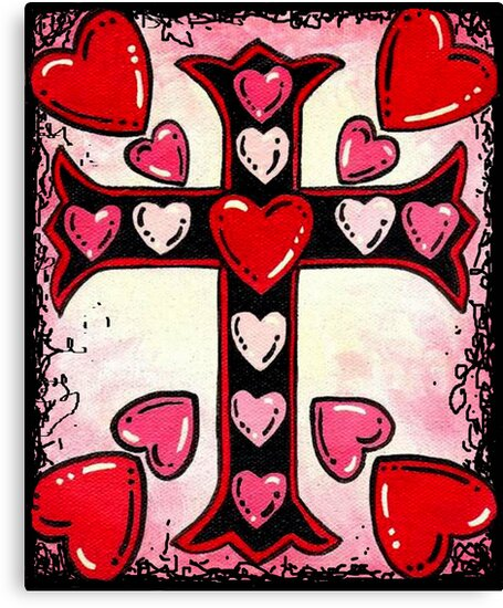 Hearts and Cross by WildestArt