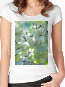 White Flowers Women's Fitted Scoop T-Shirt