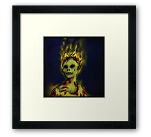Flaming Zombie Framed Print