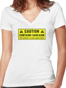 Caution: Contains Sarcasm Women's Fitted V-Neck T-Shirt