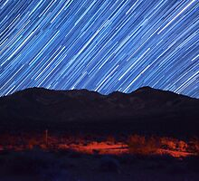 Amazing Star Trails Over Death Valley Desert Mountain by Gavin Heffernan
