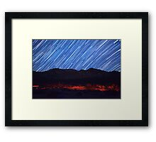 Amazing Star Trails Over Death Valley Desert Mountain Framed Print