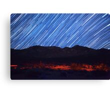 Amazing Star Trails Over Death Valley Desert Mountain Canvas Print