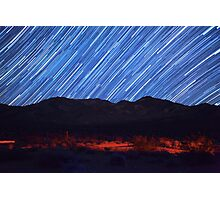 Amazing Star Trails Over Death Valley Desert Mountain Photographic Print