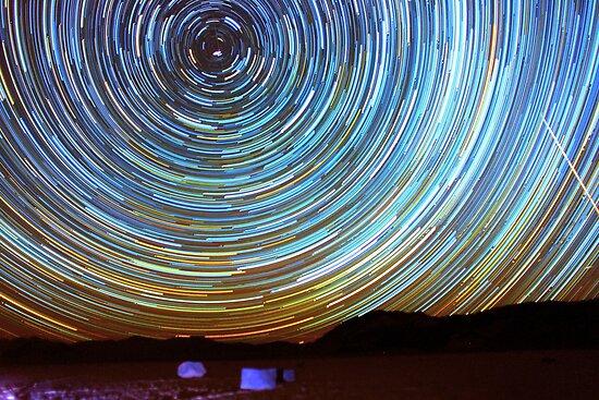 Star Trails over Racetrack Playa Stones of Death Valley by Gavin Heffernan